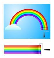 rainbow and painter vector