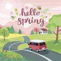 Spring road trip Landscape with a cute car on the road and lettering Vector illustration in flat style
