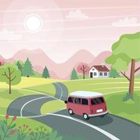 Spring road trip Landscape with a cute car on the road Vector illustration in flat style
