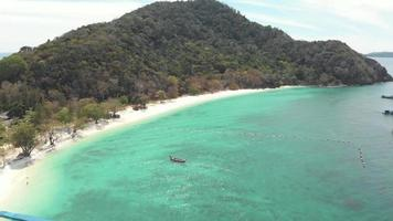 Paradisiac turquoise sea waters against hills, Coral Island. Tropical holidays concept video