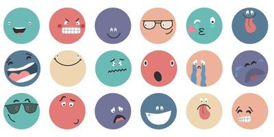Round abstract comic Faces with various Emotions  Different colorful characters vector