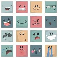 colorful abstract Emoticons set comic Faces with various Emotions  Different colorful characters vector
