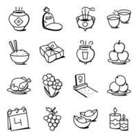 conjunto de iconos del festival de qingming vector
