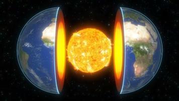 noyau de la planète terre dans un style 3d sur fond étoilé brillant univers espace sphère globale planète scientifique concept 4k video