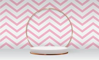 White 3d pedestal background with Golden Glass Ring Frame realistic palm leaves for cosmetic product presentation fashion magazine vector