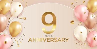 Diseño de 9 aniversario con confeti y globos para fiesta de fondo de vacaciones vector