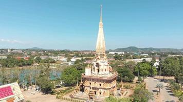 Wat Chalong Buddhist Temple in Mueang Phuket District in Thailand - Aerial Panoramic Orbit shot video
