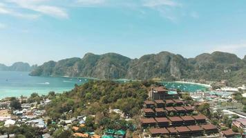 Panoramic view over Ko Phi Phi Don Island coastline and idyllic landscape near Loh Dalum and Tonsai Bay, Thailand - Aerial Panoramic fly-over shot video