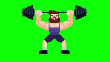 Man is working out and lifting heavy barbell video