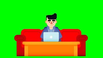 Animation of boy using laptop with long arm sofa and table video