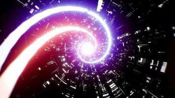 túnel de rotación de racha de luz roja y azul de ciencia ficción 4k video