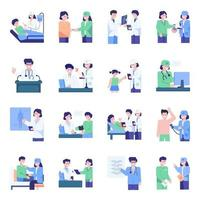 Health care icon set with doctors vector