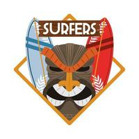 surfers mask surfboards vector