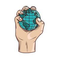 hand holds world vector