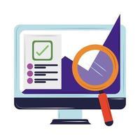análisis de laptop seo vector