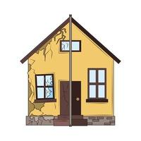 house before after renovation vector