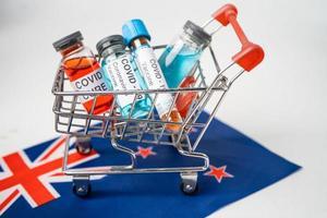 Novel Coronavirus Covid 19 vaccine in shopping cart on United Kingdom flag photo
