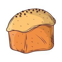 baked rustic bread vector