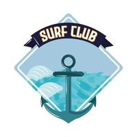 ancla del club de surf vector