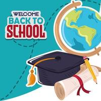 back to school education globe graduation hat and certificate vector