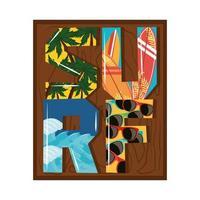 surf letras tropicales vector