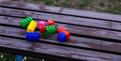 Colorful toy building blocks photo
