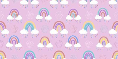 Abstract rainbow with clouds and raindrops, doodles and circles in a seamless pattern. Childrens pattern in muted pastel colors. Hand-drawn vector illustration. Design for textiles, packaging
