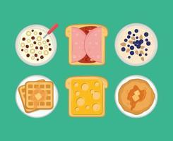 breakfast menu icons vector