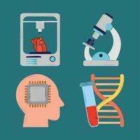 bioengineering icons set vector
