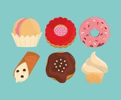 sweet dessert set vector