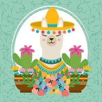 portrait llama cactus vector