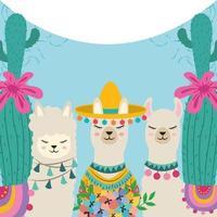 lovely llamas cactus vector