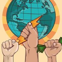 revolution world fists vector