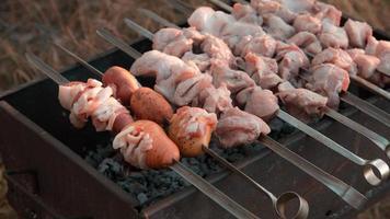 Shish kebab fried on grill photo