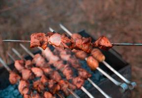 Man frying shish kebab on the grill photo