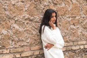 Portrait of a young romantic brunette woman photo