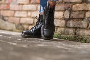 Waterproof boots Black combat boots photo
