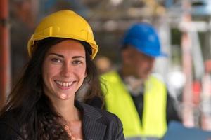 mujer ingeniero de la construcción retrato de cerca foto