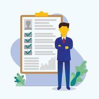 Ilustración de vector de reclutamiento de candidatos de gente de negocios