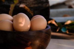 cerrar plato de huevos foto