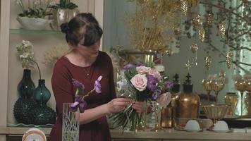 Florist Creating a Flower Bouquet video