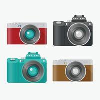 Set of analog and digital camera vector object