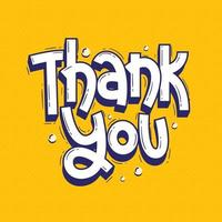 Thank you lettering doodle hand drawn vector