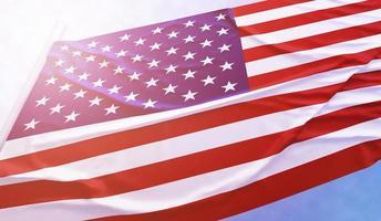 American flag on the blue sky photo