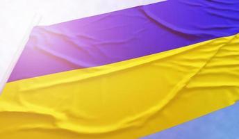 bandera de ucrania en el cielo azul foto