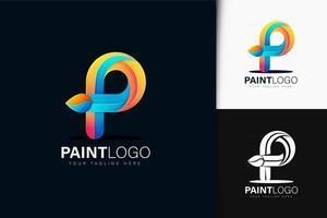 Colorful gradient paint logo design vector