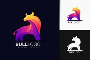 Colorful gradient bull logo design vector