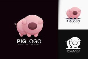 diseño de logotipo de cerdo con degradado vector