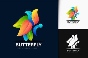 Colorful gradient butterfly logo design vector