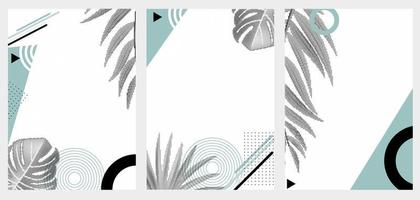 Abstract Geometric Trendy Background with Halftones Palm Leaves Collection Set vector